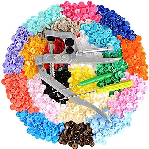 Yinsun 300pcs Boutons Pression Plastique Multicolore T5 12mm avec Kit de Pince pour T3 T5 T8 en 20 Couleurs pour DIY Loisirs Créatifs Artisanat