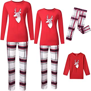 Aviat Matching Family Pajamas Sets Christmas,Soft&Casual Sleepwear,Long Sleeve Elk Print Tee+Red Plaid Pants Xmas Loungewear Fit for Party Holiday,Decor for Women,Men,Kids,Boys,Girls,Festive PJs