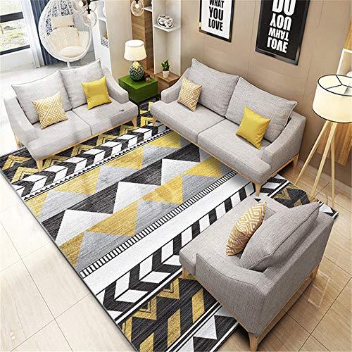 alfombras de Salon,Alfombra Amarilla, patrón de triángulo Casual Suave cómodo Alfombra Simple ,Alfombra Comedor Grande -Amarillo_120x160cm