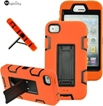 iPhone 4s case, iPhone 4 case, MagicSky Robot Series Hybrid Armor Defender Case Cover with Kickstand for Apple iPhone 4/4S - Black/Orange
