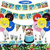 Sonic Party Supplies for Kids' Birthday, Sonic Party Decorations Included Plates, Cups, Napkins, Tablecloth,...