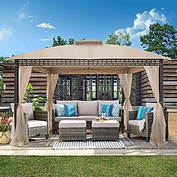 Joyside Patio Gazebo 10 Ft x 12 Ft Double Roof Outdoor Gazebo with Mosquito Netting and Single Sidewall