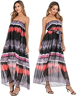 Shenme Ladies Summer Sexy Chiffon Sleeveless Boho Stripe Long Dress Vacation Beach Long Dress (Color : Black purple, Size : 4XL)