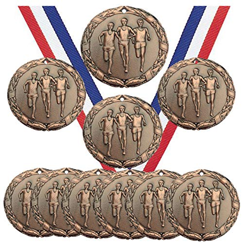 Bronze Cross Country Running Run Medals Trophy Champion Participant Award Prize with Neck Ribbons (Pack of 10)