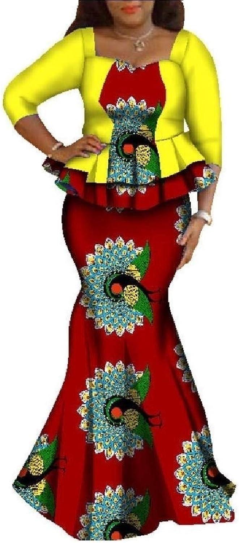 Winme Women's 2 Piece Set African Print Plus Size Modern Maxi Skirt