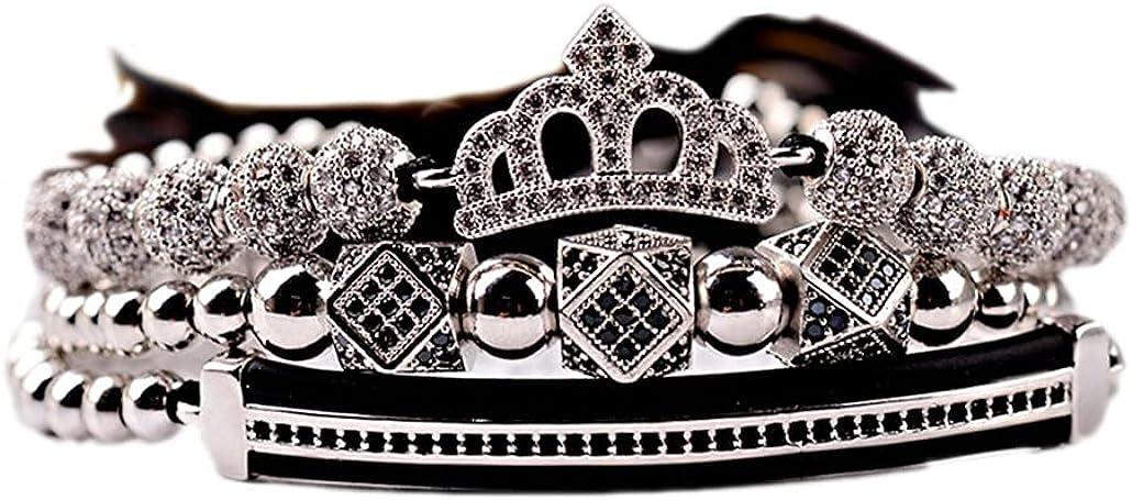 SONTONXON Luxury CZ King Crown Charm Bead Macrame Award Men's Copper Cheap B