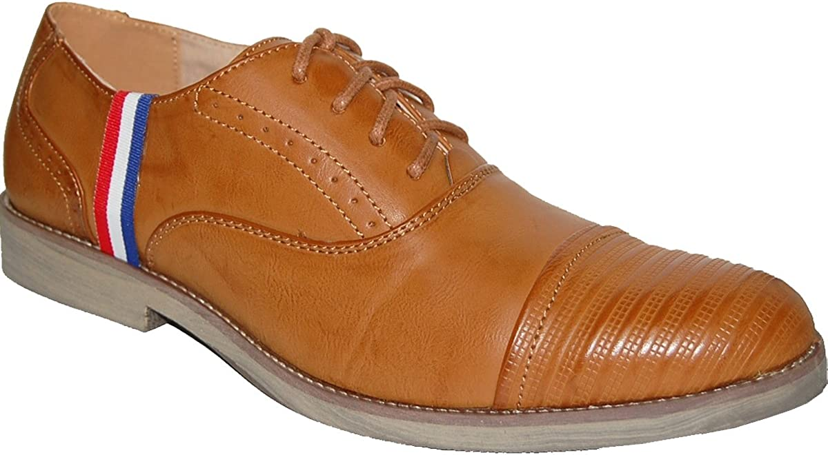 KRAZY SHOE ARTISTS Burnished Tan with Red-White-Blue Colors Stripe Ornament Mens Oxfords