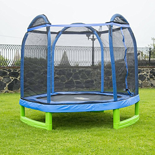 7-Foot My First Trampoline Hexagon (Ages 3-10) for Kids, Blue/Green