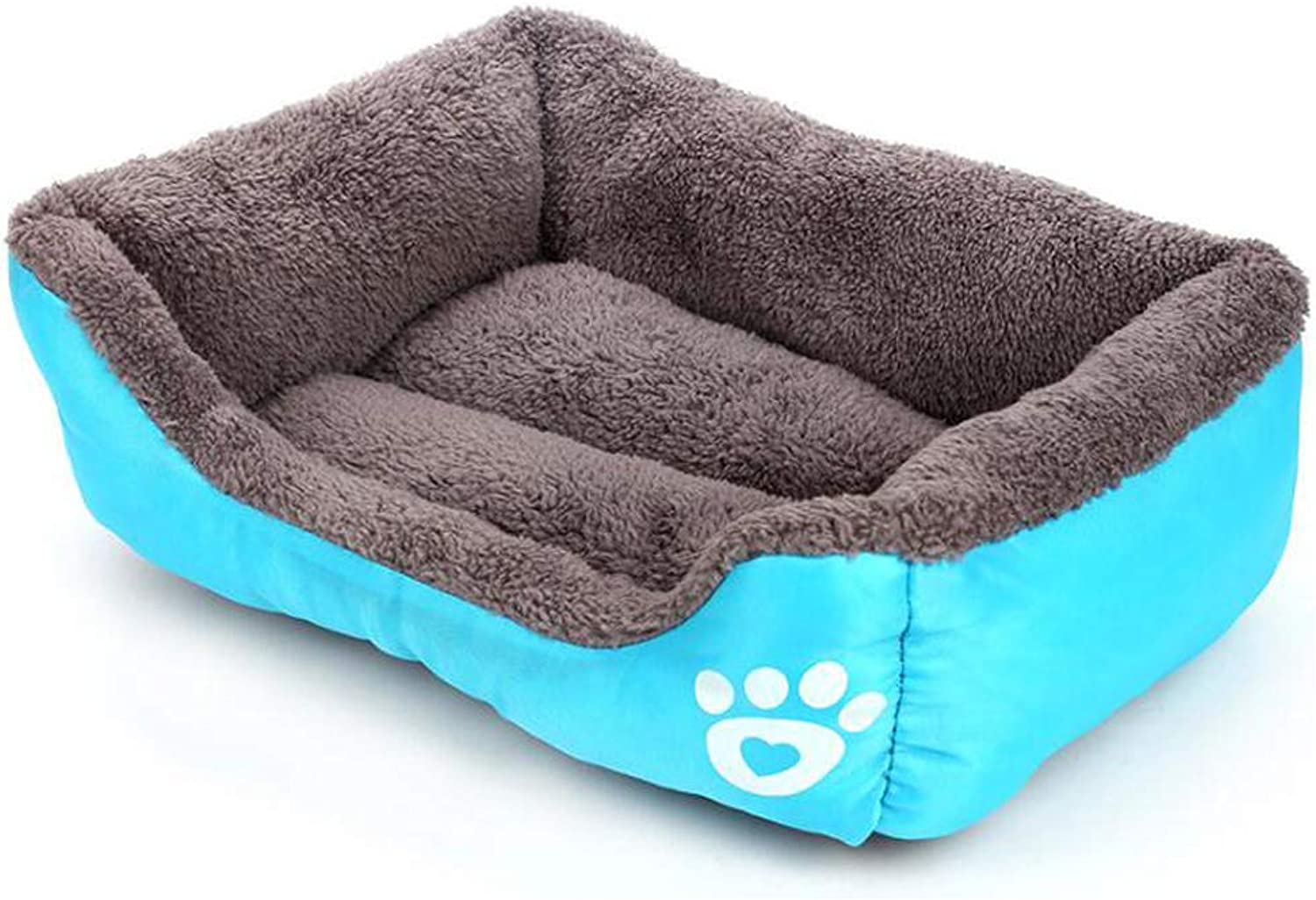 HQSB Pet Bed Deluxe Soft Washable Dog Bed,Cat Bed Warm Basket Cushion with Plush Lining (color   bluee, Size   L)