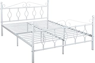 GreenForest Queen Bed Frame Metal Platform Complete Bed with Vintage Headboard and Footboard Box Spring Replacement Steel Bed Frame, Matte White