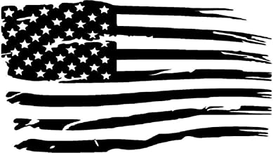 CarTats Distressed American Flag Big Sizes Premium Waterproof Vinyl Decal Hood Wall Window Bumper Sticker Door Toolbox Laptop Choose Size and Color (5x2.8, Black)