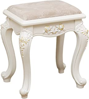 White Workmanship Wooden Piano Stool with Soft Padded JEF Bedroom Dressing Table Stool