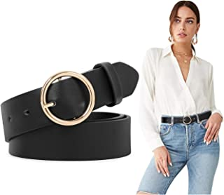 Women Leather Belts SUOSDEY Fashion Soft Faux Leather Jeans Belts with O-Ring Buckle