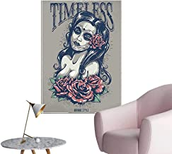 Vinyl Wall Stickers Day Dead Girl Tattoos Her Face ROS Lady Witch Woman Timel Sign Perfectly Decorated,20