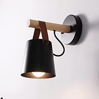 Sconce/Wall Sconces Plug glammetric Metal Wall Modern Leather and Wooden Wall Light LED Bed Headlights Night Light Wall la...