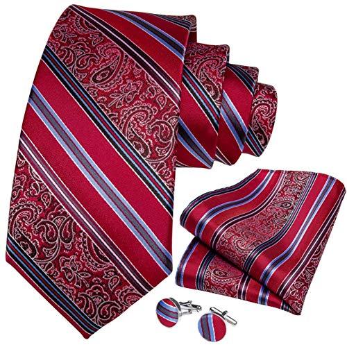 WOXHY Cravate Homme Rouge rayé Paisley Nouveauté Conception Soie Mariage Handy Cufflink Cadeau Cravate Set Party