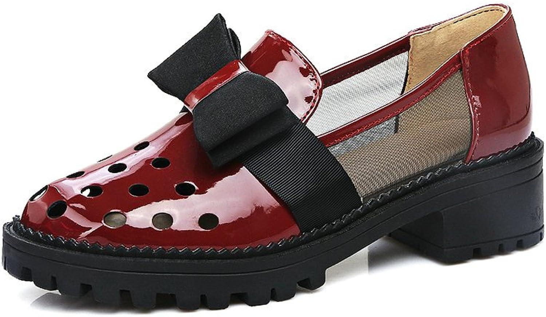 AIWEIYi Ladies Pump shoes Sweet Bow Square Low Heel Dress shoes Black
