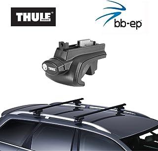 Thule Stahldachträger 90105043 Komplett System inkl. Schloss für VOLKSWAGEN (VW) Passat (B7) Variant   mit normaler (hochstehender) Dachreling – inkl. 1 l Kroon Oil ScrennWash
