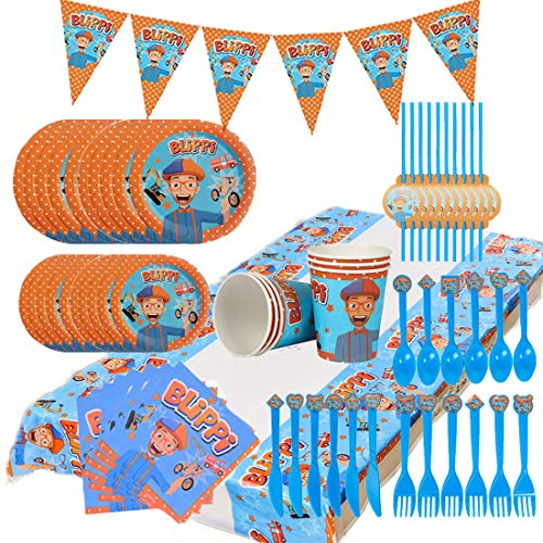 92pcs Blippi Party Supplies Juego de decoración Happy Birthday Party Vajilla Paquetes...