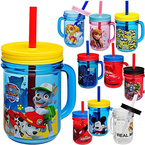 alles-meine.de GmbH Trinkbecher / Henkeltasse / Trinkflasche - Jungen Motiv - mit Strohhalm & Deckel - BPA frei - 420 ml - Kunststoff Plastik - durchsichtig & transparent - Trink..