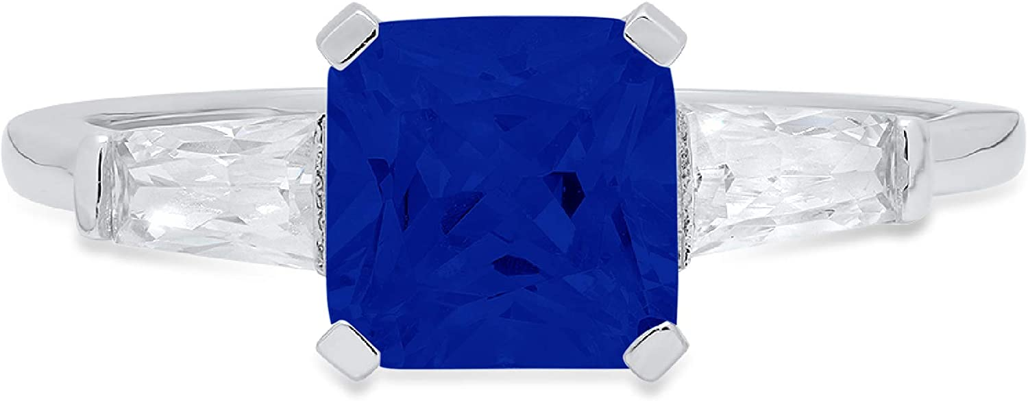 1.56ct Square Emerald Baguette cut 3 stone Solitaire Flawless Ideal Genuine Cubic Zirconia Blue Sapphire Engagement Promise Statement Anniversary Bridal Wedding Designer Ring Solid 14k White Gold