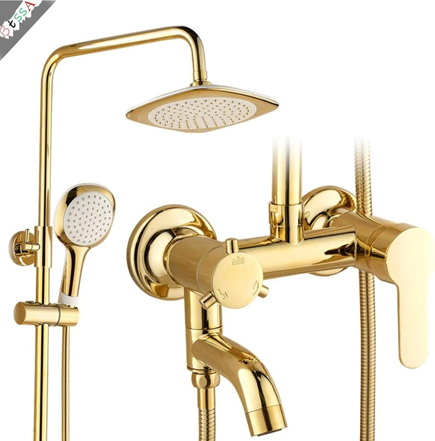 BTSSA Shower System, Wall Mounted Shower Faucet Set for Bathroom with High Pressure 8  Rain and Shower Head Set