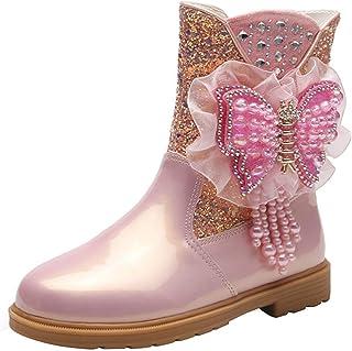 LOBTY filles princesse bottes de neige enfants bottes d'hiver avec doublure chaude bottes en Wellington pour bottes antidé...