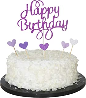 Sunny ZX Happy Birthday Cake Topper, 1st First Happy Birthday Cupcake Topper, Glitter Gold Decoration(purple)