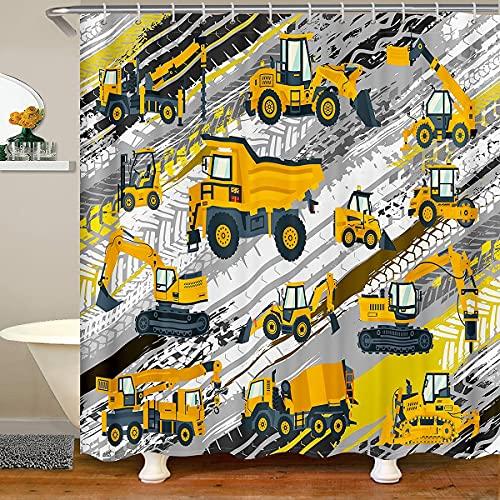 BAU LKW Duschvorhang Kinder Jungen Fahrzeug Auto Bad Vorhang Bagger Cartoon Gelb Kinder Badezimmer Home Decor Set Wasserdicht Badewanne Vorhang Polyester mit 12 Kunststoffhaken, 180x180 (BxL)