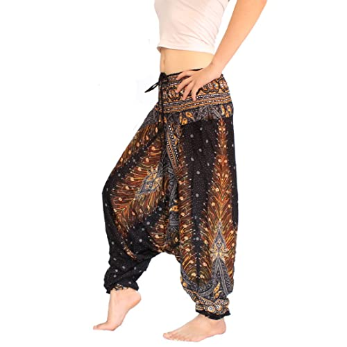 0a8d90c935 Banjamath® Women's Peacock Print Aladdin Harem Hippie Pants Jumpsuit