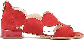 Pierfrancesco Vincenti Sandali Bassi in camoscio con Cerniera Posteriore - Scarpe Donna Made in Italy Colore Rosso