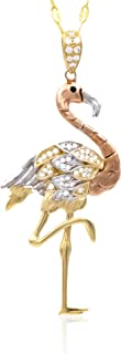 Collana in oro - 14K - Fenicottero - Pendente in tre ori, bianco - giallo - rosa, con occhio in zaffiro nero e swarovski t...