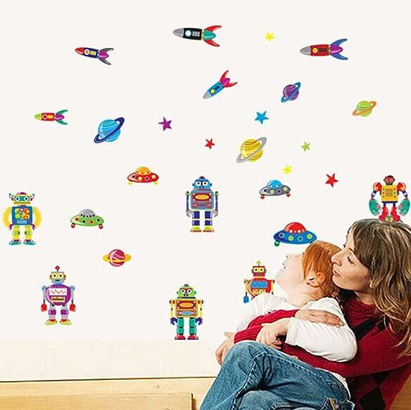 Wallpark Boys Cartoon Robots Rocket Flying Saucer Removable Wall Sticker Decal Children Kids Baby Home Room Nursery DIY Decorative Adhesive Art Wall Mural