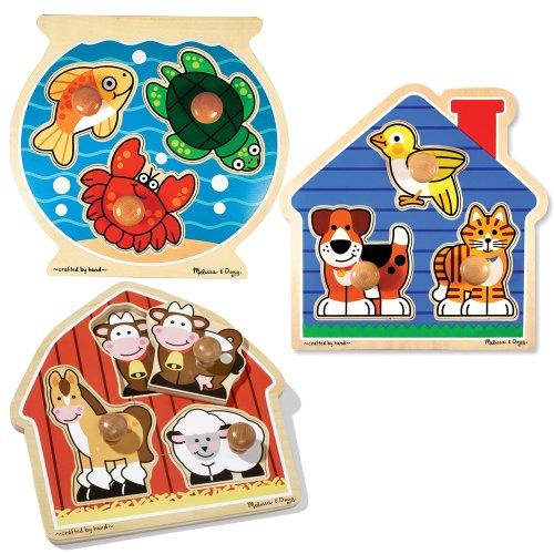 Melissa & Doug Deluxe Fish Bowl, Pets, and Barnyard Animals Jumbo Knob Puzzle Bundle (Set of 3)