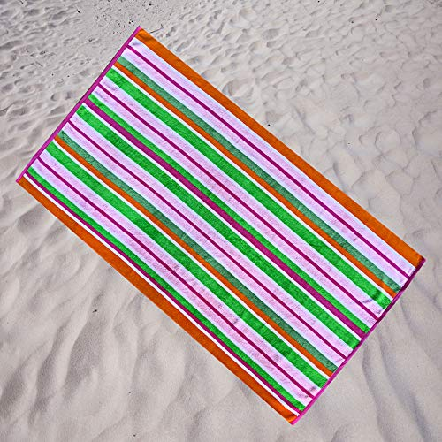 Espalma Candy Stripe Oversized Beach Towel Clearance, Over Sized Large Luxury 36' Wide x 64' Long - Plush Velour and Absorbent Cotton Terry Pool, Spa, Beach Towel Clearance