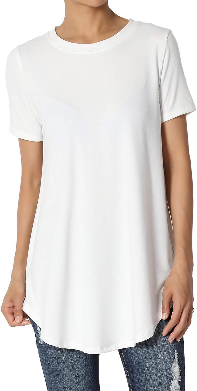 TheMogan S~3X Basic Crew Neck Shirttail Hem Short Sleeve Top Draped Jersey Tee