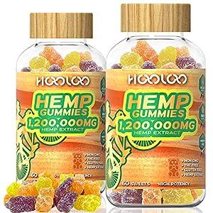 HOOLOO Hemp Gummies, 1,200,000MG Vegan Hemp Gummy Bears for Relaxing, Sleep Better, Reduce Stress Anxiety, Natural Hemp Extract Gummies, Made in USA (2 Pack)
