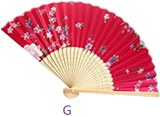 Abanico Plegable,La Mujer De Mano De Bambú Hueco Del Ventilador Con Borla, Peony Rojo Con La Superficie Del Ventilador Ventilador Plegable Adecuado Para Boda Regalo Dama Danza Ventilador Ventilador