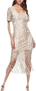 Women Vintage Sexy Lace V Neck Hollow Bodycon Tassels Dress for Party Cocktail