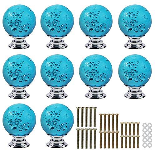 Pomos de cristal transparente para cajones con bolas de burbuja para puerta de armario de cocina, de PsmGoods®, azul, Beige