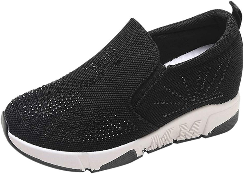 Webb Perkin Women's Casual Travel shoes Mesh Rhinestone Breathable Increased Sneakers Female Wedge Heels
