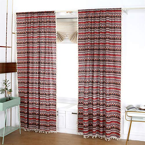 YOU SA 2-Panel Colorful Boho Striped Living Room Bedroom Curtain, Semi Blackout Farmhouse Style Drapes Window Curtain with Tassels Rod Pocket Design (59''Wx79''L,Rod Pocket)