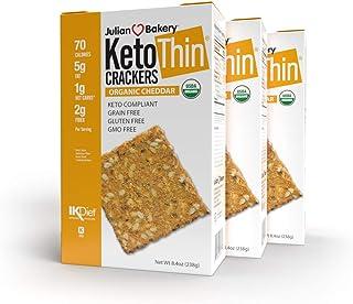 Julian Bakery Keto Thin Crackers   Organic Cheddar   USDA Organic   Gluten-Free   Grain-Free   GMO Free   Low Carb   3 Pack