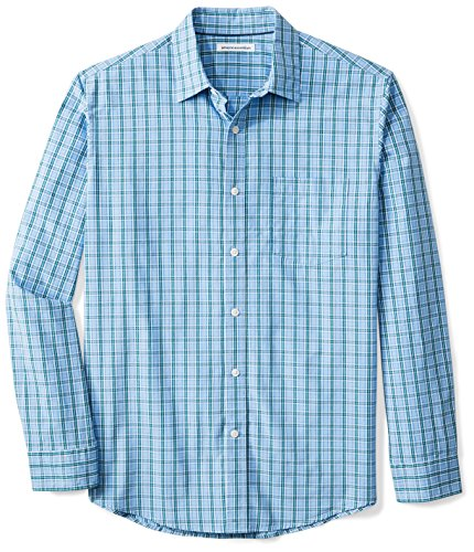 Amazon Essentials para hombre ajuste Regular manga larga camisa de cuadros, verde, azul a cuadros , Medium