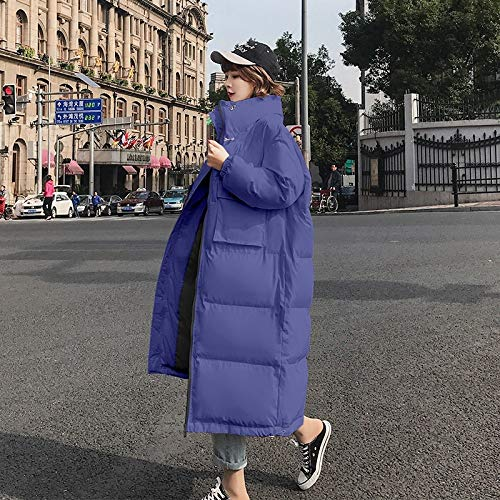 HSXQQL Doudounes, Young Girl Slim Coat Long Down Jacket Style Large Size Stand Collar Warm,Blue,XXL