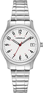 Caravelle Women's Quartz Watch with Stainless-Steel Strap, Silver, 15 (Model: 43M119)