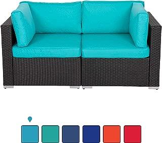 Peach Tree Wicker Loveseats Patio Sectional Corner Sofa Rattan Outdoor Thick Sofa Set