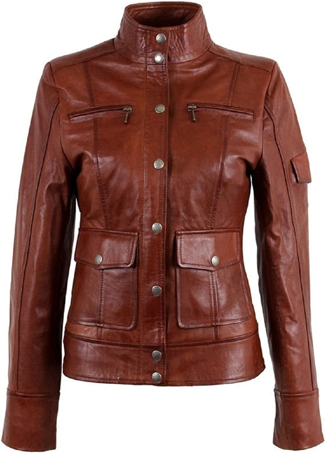 New Womens Motorcycle Genuine Sheep Leather Party Jacket LFW257