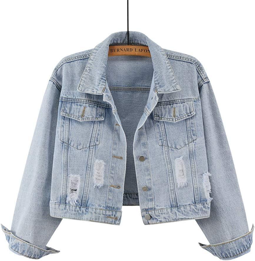 Denim Jacket Women's Fashion Lapel Collar Casual Hip Hop Loose Ripped Short Jacket (Size : Small)