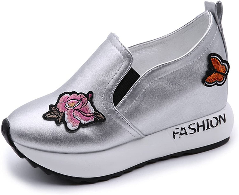 Btrada Women's Fashion Wedge Heel Loafer Sneaker Flower Butterfly Athletic Walking Outdoor Pull-On shoes